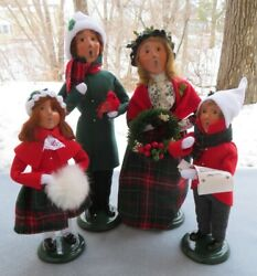 4 Pc Byers Choice Caroler Dillards Red Family Couple And Children Bird 2020 New