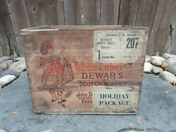 Vintage Wood-wooden Dewars And Sons White Label Scotch Whisky Crate Philadelphia