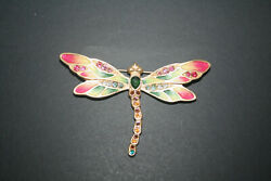 Jay Strongwater Magnificent Enameled Candice Bejeweled Dragonfly Brooch Pin