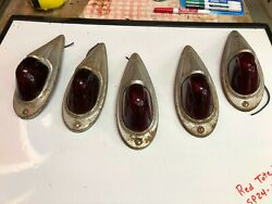 5 Set Sp247 Vintage Red Marker Light Fender Chevy Truck Cab Clearance Old Gm Gmc