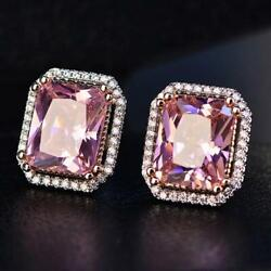 Pink And Vintage Natural Diamond 0.60ct Stud Earrings In14k White Gold For Wedding