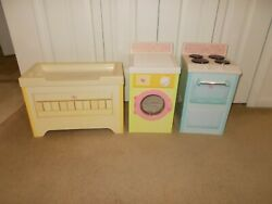 Playskool Rose Petal Cottage - Stove, Changing Table And Washer / Dryer