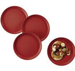 """Tupperware Round Party Plates Holiday Red 9.25""""d High Rimmed Edge No Spill Set/4"""