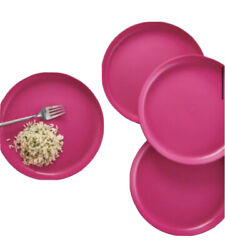 Tupperware Round Party Plates Fuchsia Pink High Rimmed Edge No Spill Set/4
