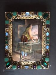 Antique French Enamel Painting / Jeweled Austrian Bronze Frame /signed / 19 Cent