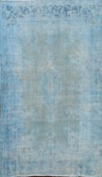 Antique Overdyed Kirman Distressed Hand-knotted Area Rug Evenly Low Pile 7and039x9and039