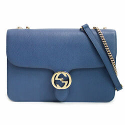 Pre-owned 510303 Interlocking G Chain Shoulder Bag Navy Claf Leather F/s