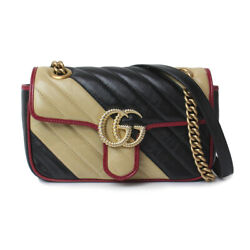 Pre-owned 446744 Gg Marmont Chain Shoulder Bag Black Beige Red Leather F/s