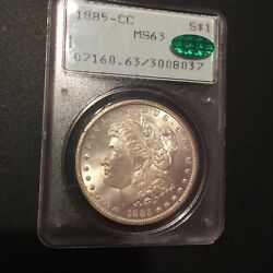 1885-cc Morgan Silver Dollar - Pcgs Ms63 And Cac - Old Rattler Holder - Must See