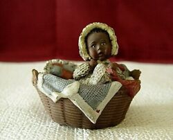 Sarah's Attic Baby Tansy In Basket Figurine African American Black Sarahs