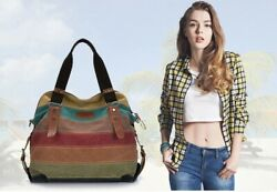 Canvas Totes Striped Womens Handbag 2020 Patchwork Rainbow Shoulder Bag $24.99