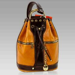 Marino Orlandi Designer Backpack Bucket Cognac Leather Convertible Sling Purse $725.00
