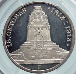 1913 German States Saxony Napoleon Monument Proof Silver 3 Mark Coin Pcgs I87736