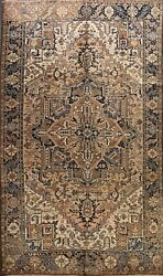 Antique Geometric Heriz Area Rug Hand-knotted Traditional Oriental Carpet 8x11
