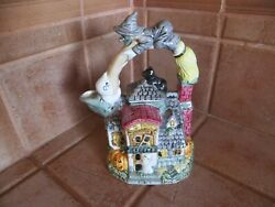 Omnibus By Fitz And Floyd Halloween Haunted House Teapot W/witch On Broom Handle