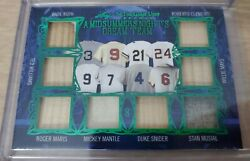 2020 Leaf In The Game Used Sports 1/1 Babe Ruth, Mickey, Ted, Maris 8 Way Relic
