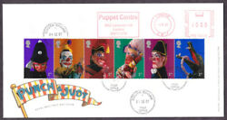 2001 Punch And Judy Set Of 6 On Fdc With Puppet Centre London Meter Mark
