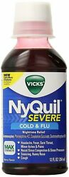 Vicks Liquid Nyquil Severe Cold And Flu Nighttime Relief Berry   12 Oz   12 Pack