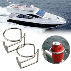 2pcs Boat Ring Cup Drink Holder For Marine Yacht Truck Rv Stainless Steel Silver