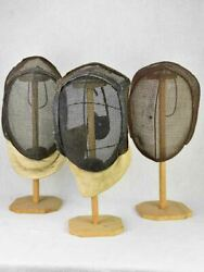 Collection Of Three Antique French Fencing Masks On Vintage Hat Stands