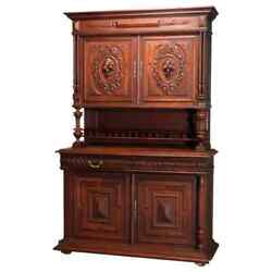 Antique French Renaissance Deeply Carved Walnut Hunt Cupboard, 19th Century