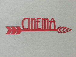 Large 24quot; Red Cinema Wood Wall Arrow Word Sign Movie Theater Art Decor