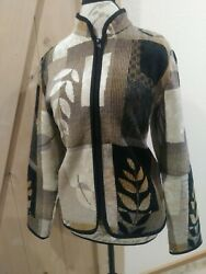 * Coldwater Creek * Tapestry Jacket * Brown amp; Ivory * Black Accents * Size L
