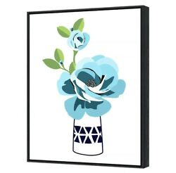 Blue Flower Wall Art Canvas Picture Framed Home Floral Decor Painting Print Sign
