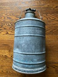 The Standard Oil Co. Ohio Metal Round Can W/ Wood Handle Antique Vintage