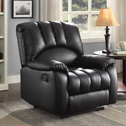 Cushioned Lazy Boy Lounge Chair Padded Manual Leisure Living Room Recliner Black