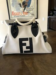 FENDI NATURAL CANVAS AND BLACK PATENT LEATHER BAG DE JOUR $625.00