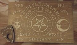 Wooden Vintage Style Celestial Ouija Board And Planchette Wood Spirit Board