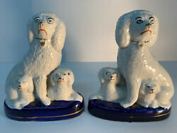 Staffordshire Antique Victorian Pair Of Poodle Groups Dog Figurines With Pups