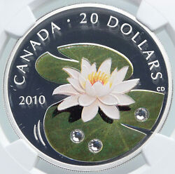 2010 Canada Uk Elizabeth Ii Gems Color Lily Silver 20 Coin Ngc I87845