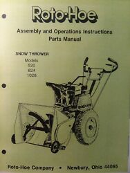 Bobcat Roto-hoe Walk-behind Snow Thrower Blower 520 824 1028 Owner Andparts Manual