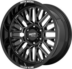 5- 22 Inch Milled Black Wheels Rims Lifted Jeep Wrangler Moto Metal Mo802 22x10