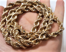 Vintage 1/20-12k Gf Heavy Rope Chain Necklace 30-1/4 7 Mm
