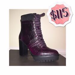 Vince Camuto Women's Shoes Purple Black 6 Boots Dark Red Lace Up 8