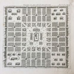 Layout Of Camp D'israel Depending P. Lami Engraving 19th Jew Antique Testament