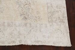 Antique Muted Geometric Tebriz Distressed Hand-knotted Area Rug Low Pile 9and039x12and039