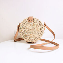 Bohemia Women Straw Beach Bag Hand Bags Round Rattan Shoulder Purse Crossbody $21.98