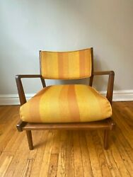 Vintage 1960s Jens Risom Walnut Low Lounge Chair Original Upholstery