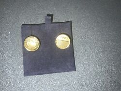 24 Carat Gold Coin Cufflinks 1/10 Protea South African Coins