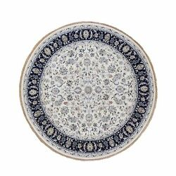 8and0391x8and0391 Nain Wool And Silk 250 Kpsi All Over Design Handknotted Round Rug R59982