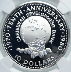 1980 Jamaica Caribbean Development Bank Vintage Proof Silver 10 Coin Ngc I87835