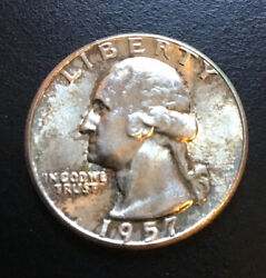 1957 -washington Almost Uncirculated 90 Silver Quarter Never Cleaned 1978 Fob