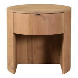 19 W Nightstand Round Solid Oak Single Drawers Open Front Base Contemporary