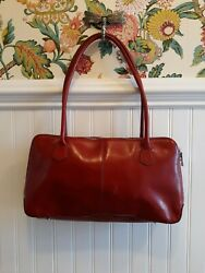 HOBO Glossy Patent Red Leather Satchel Purse Shoulder Bag **FLAW** *READ* $19.99