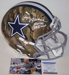 Roger Staubach Signed Cowboys Camo Speed Full Size Authentic Helmet Hof Mvp Psa
