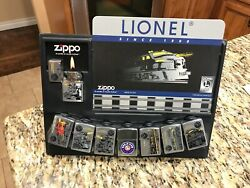 Zippo Lighter Vintage Lionel Trains Collection Set Of 8 In Display